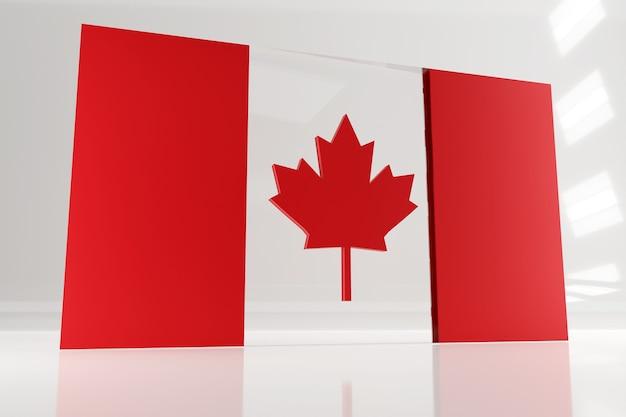 Bandera canadiense monumental para el día de canadá. 3d render bandera de vidrio y hormigón.