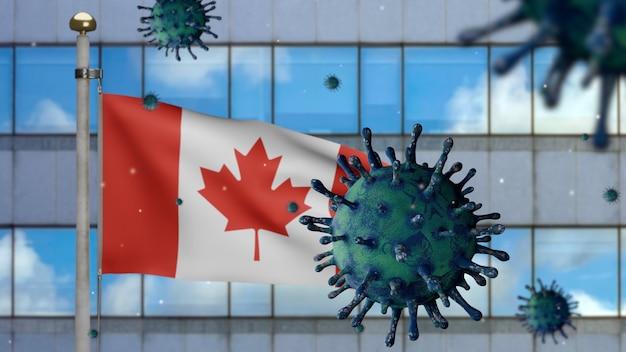 Bandera canadiense ondeando en la moderna ciudad de rascacielos con virus