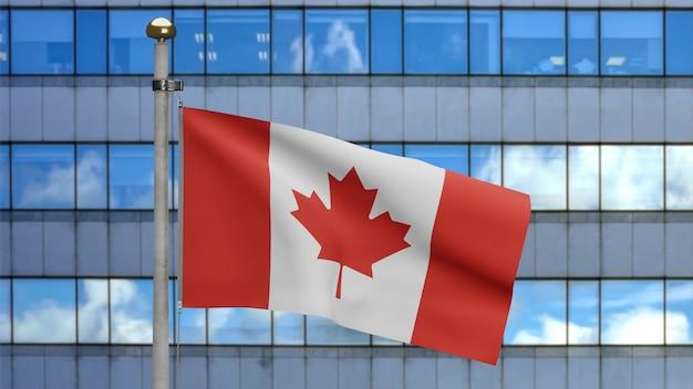 Bandera canadiense ondeando en la moderna ciudad de rascacielos