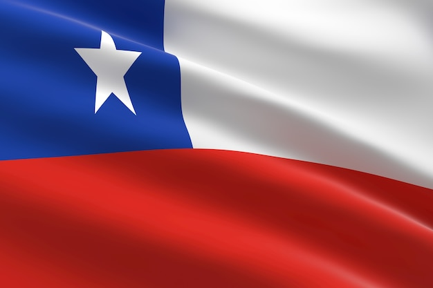 Bandera de chile ilustración 3d de la bandera chadiana ondeando