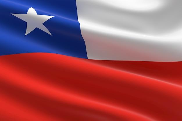 Bandera de chile. ilustración 3d de la bandera chilena ondeando.