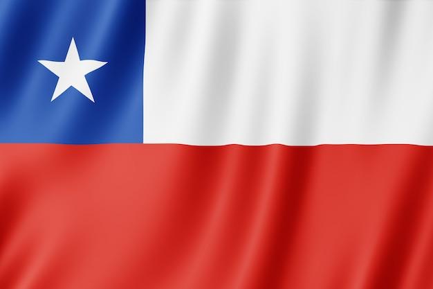 Bandera de chile ondeando en el viento.