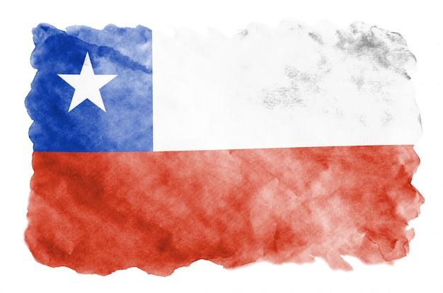 La bandera de chile se representa en estilo acuarela líquida aislado en blanco