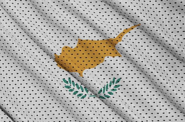 Bandera de chipre impresa en una tela de malla de poliéster deportiva de nylon