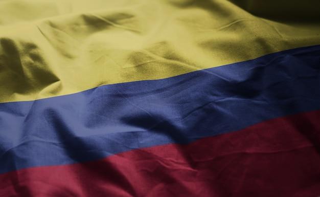 Bandera de colombia arrugada de cerca