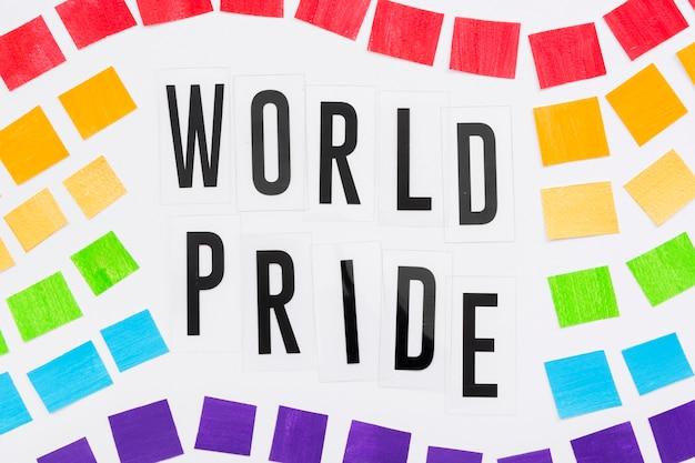 Bandera del concepto del día del orgullo con papel
