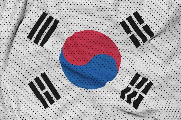 Bandera de corea del sur impresa en una tela de malla de poliéster deportiva de nylon