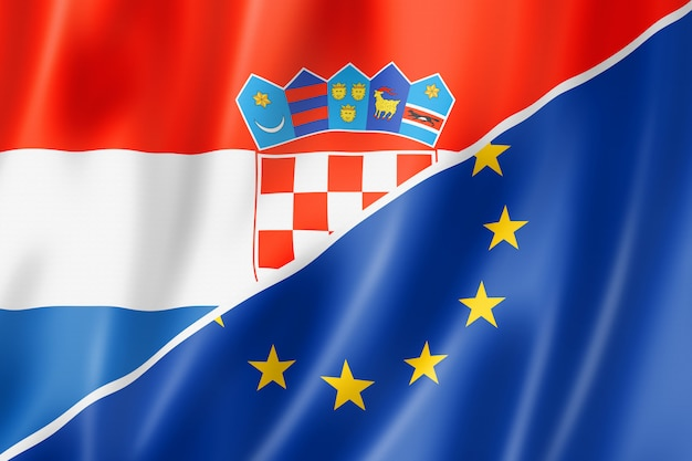 Bandera de croacia y europa