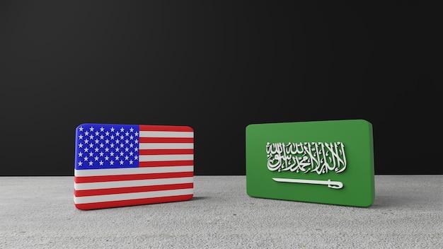 Bandera cuadrada de estados unidos de américa con la bandera cuadrada de arabia saudita, render 3d