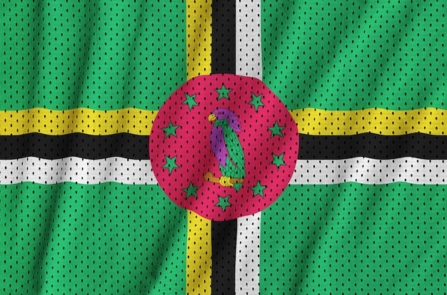 Bandera de dominica impresa en una tela de malla de poliéster deportiva de nylon