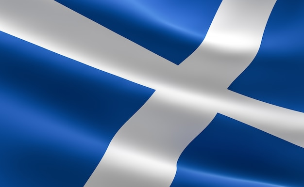 Bandera de escocia. ilustración de la ondulación de la bandera escocesa.