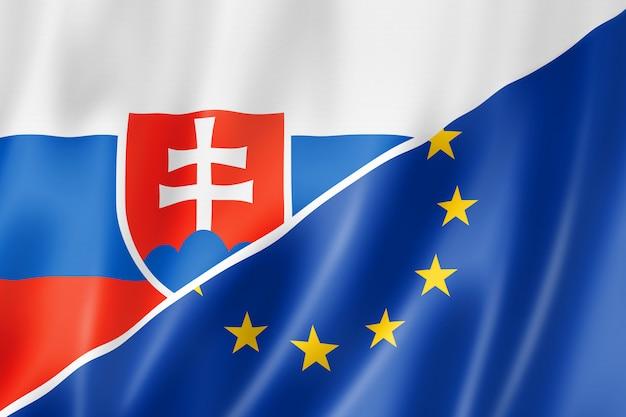 Bandera de eslovaquia y europa