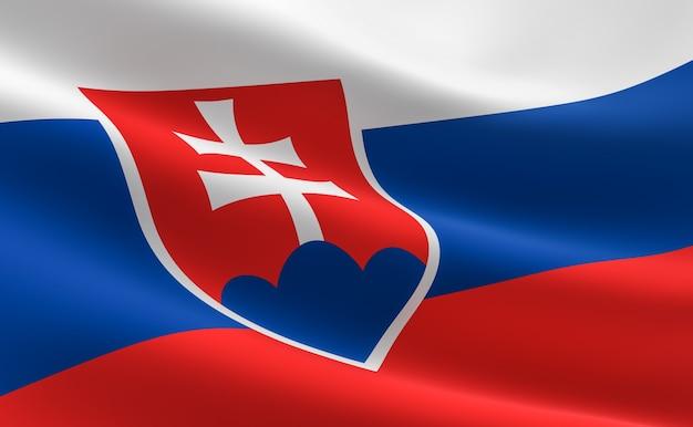 Bandera de eslovaquia. ilustración de la bandera eslovaca ondeando.