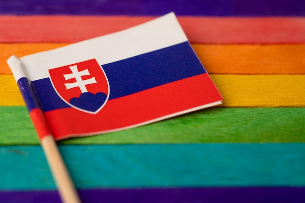 Bandera de eslovaquia en el símbolo de fondo del arco iris del mes del orgullo gay lgbt.