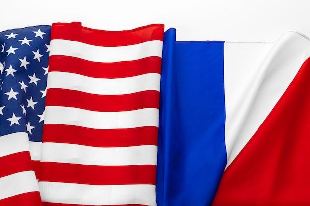 Bandera de los estados unidos de américa y bandera de francia