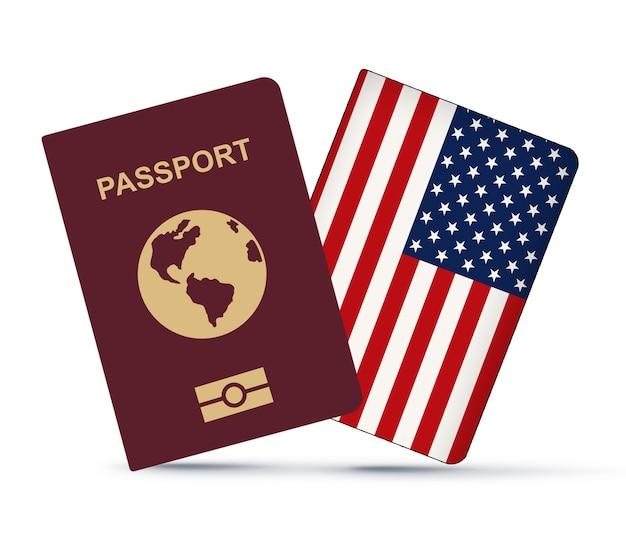 Bandera de estados unidos con pasaporte