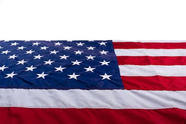 Bandera estadounidense en blanco