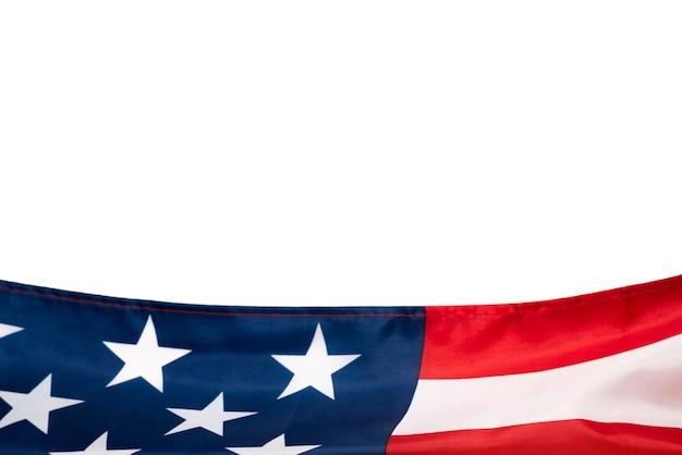 Bandera estadounidense como fondo. vista superior.