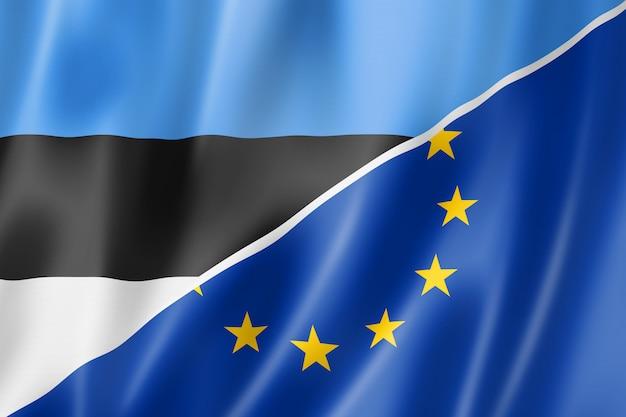 Bandera de estonia y europa