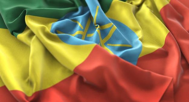 Bandera de etiopía foto de estudio ruffled bellamente acurrucado horizontal primer plano