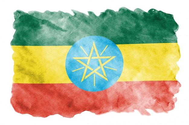 La bandera de etiopía se representa en estilo acuarela líquida aislado en blanco