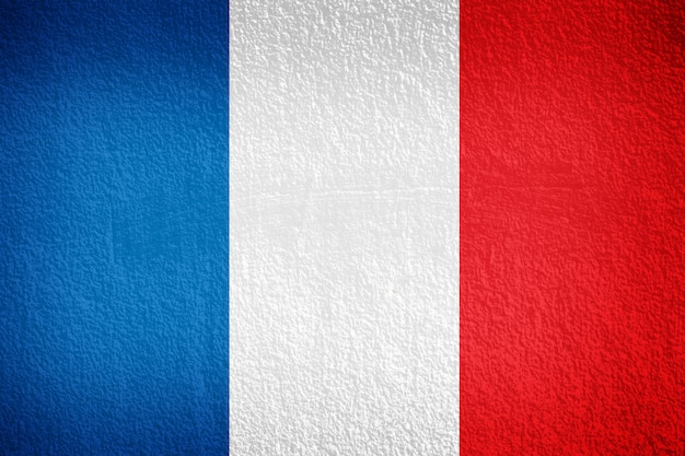 Bandera francesa pintada en pared grunge