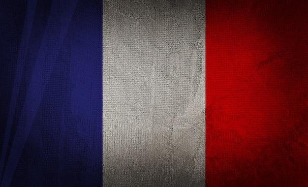 Bandera de francia en el fondo de textura oscura