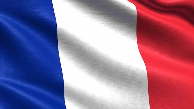 Bandera de francia, con textura de tejido ondulado.