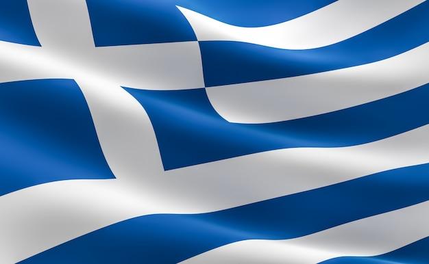 Bandera de grecia. ilustración 3d de la bandera griega ondeando.