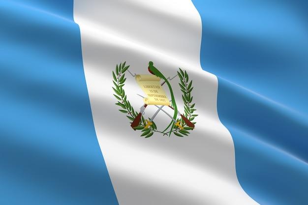 Bandera de guatemala. ilustración 3d de la bandera de guatemala ondeando