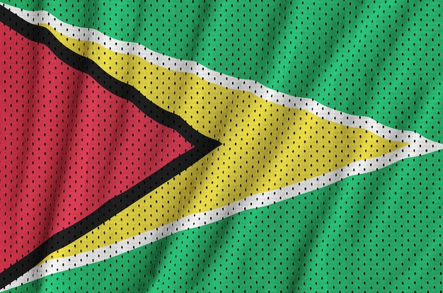 Bandera de guyana impresa en una malla de poliéster nylon