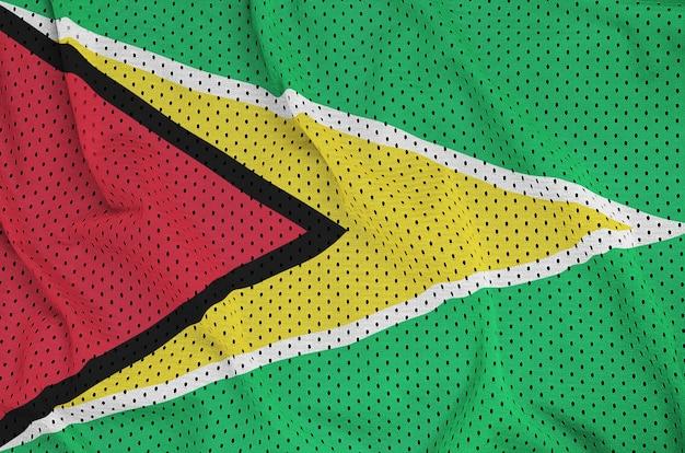 Bandera de guyana impresa en una tela de malla de poliéster deportiva de nylon