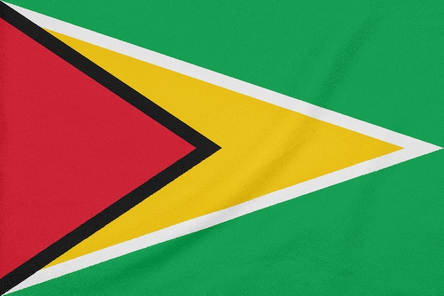 Bandera de guyana en tela con textura, símbolo patriótico