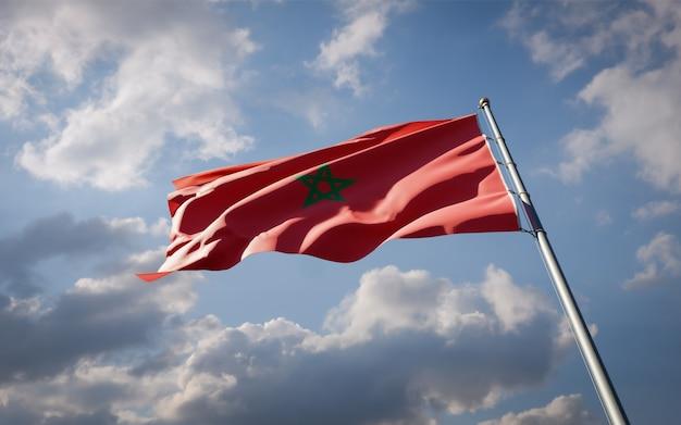 Bandera del hermoso estado nacional de marruecos ondeando