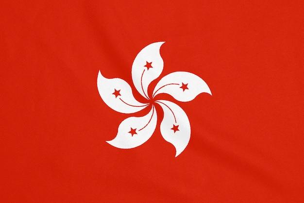 Bandera de hong kong sobre tela texturizada