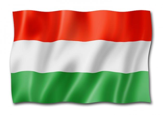 Bandera húngara aislado en blanco