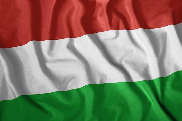 La bandera húngara ondea en el viento