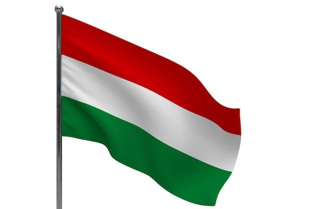 Bandera de hungría en la pole. asta de bandera de metal. bandera nacional de hungría ilustración 3d en blanco