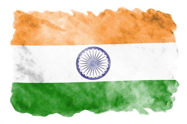 La bandera de la india se representa en estilo líquido acuarela aislado en blanco