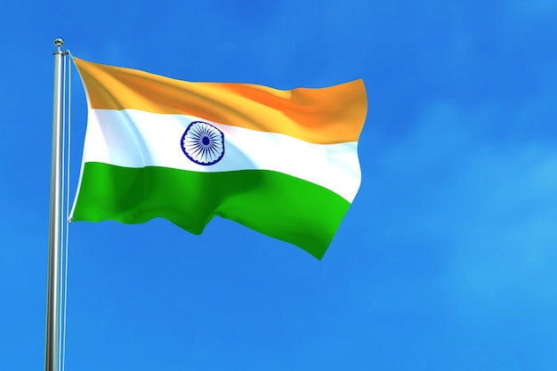 Bandera de la india en la representación 3d del fondo del cielo azul