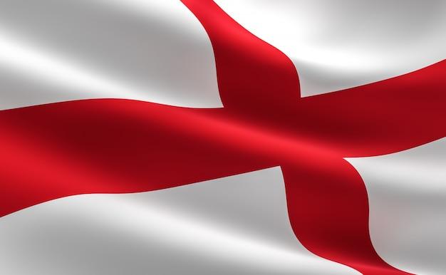 Bandera de inglaterra - la cruz de san jorge. ilustración 3d del agitar de la bandera de inglaterra.