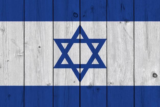 Bandera de israel pintada en tablón de madera antiguo