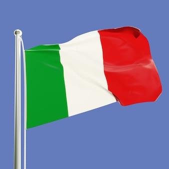 Bandera de italia en el asta de la bandera ondeando en el viento aislado sobre fondo de cielo azul