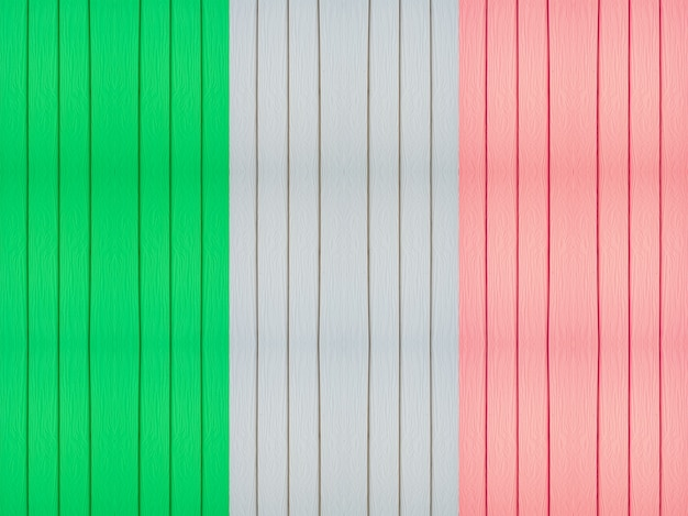 Bandera de italia en el fondo de madera.