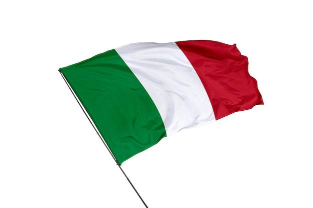 Bandera de italia sobre un fondo blanco.