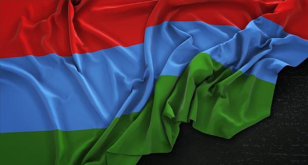Bandera de karelia arrugado sobre fondo oscuro 3d render