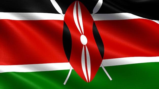 Bandera de kenia, con textura de tela ondeando.