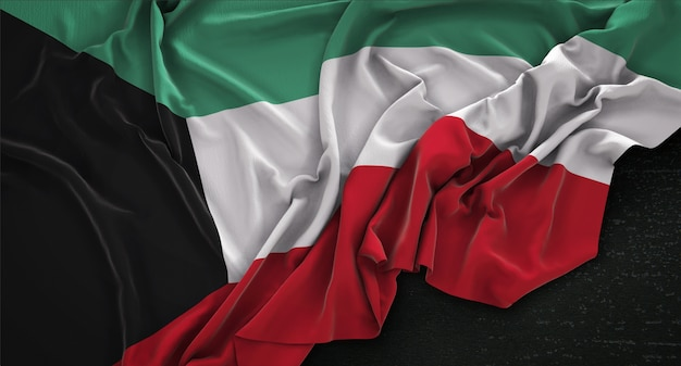 Bandera de kuwait arrugado sobre fondo oscuro 3d render