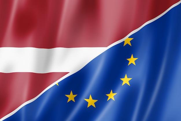 Bandera de letonia y europa