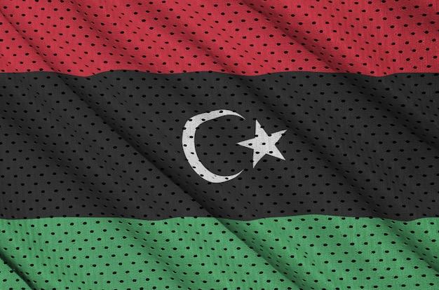 Bandera de libia impresa en una malla de nylon y poliéster